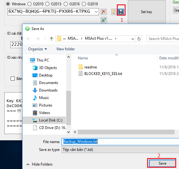 Click on the floppy disk icon, select save. Save the MSAct folder to another drive C